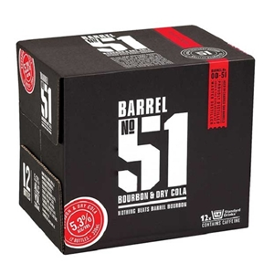 BARREL 51 5% BOURBON N COLA 12PK BOTTLES 330ML