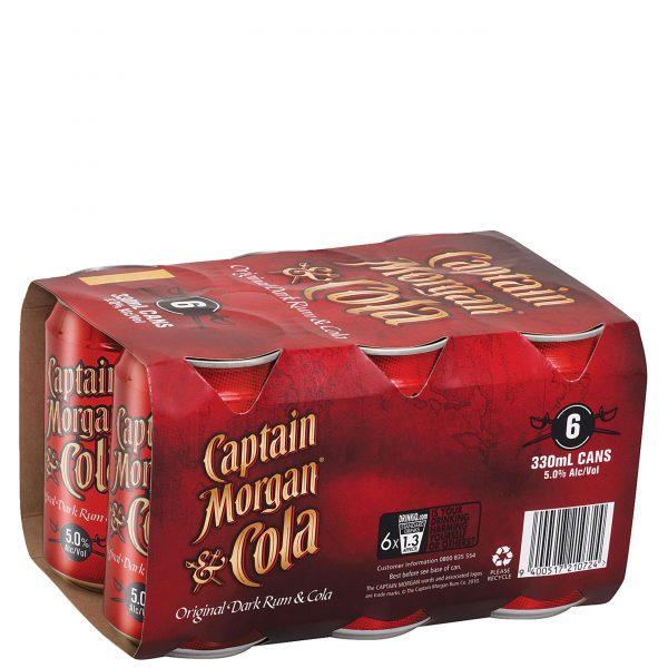 Captain Morgan Dark Cola 5% 330mL Cans 6 Pack