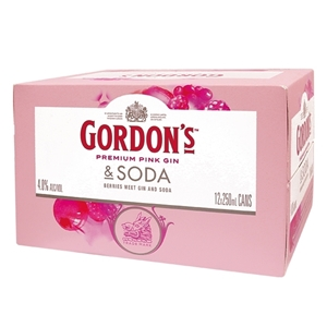 GORDONS PINK GIN 4% 12PK CANS 250ML