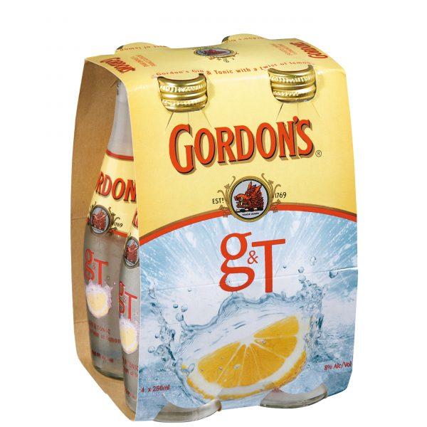 Gordons and Tonic 7% 250mL Bottle 4 Pack