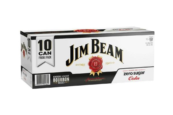 Jim Beam & Cola Zero 4.8% 10 Pack Cans 330ml
