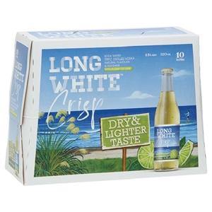 LONG WHITE CRISP LIME 10PK BTLS 330ML