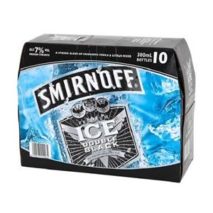 SMIRNOFF 7% DOUBLE BLACK ICE 10PK BTLS 300ML