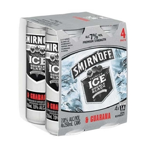 SMIRNOFF 7% VODKA N GUARANA 4PK CANS 250ML