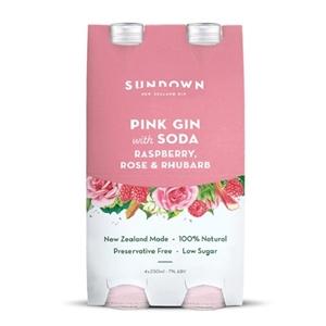 SUNDOWN PINK GIN SODA 4PK BOTTLES