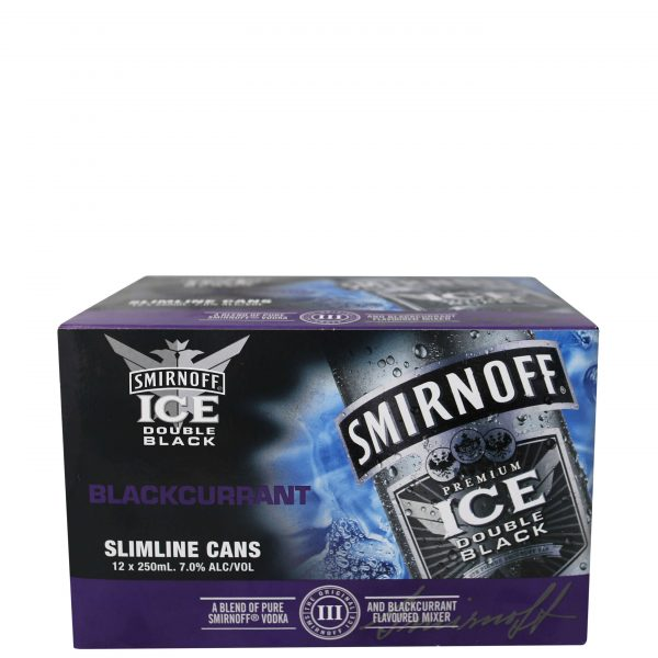 Smirnoff Ice Double Black Blackcurrant 7% 250mL Cans 12 Pack