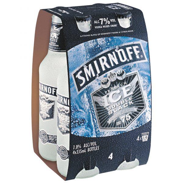 Smirnoff Ice Double Black Lemon 7% 300mL Bottles 4 Pack