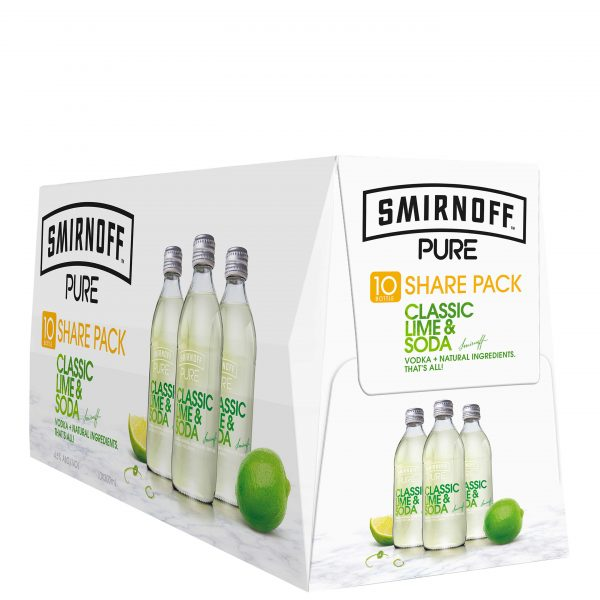 Smirnoff Pure Lime Soda 4.5% 300mL Bottles 10 Pack