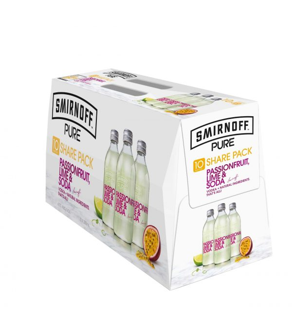 Smirnoff Pure Passionfruit Lime Soda 4.5% 300mL Bottles 10 Pack