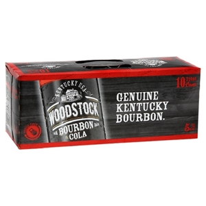 WOODSTOCK 5% BOURBON N COLA 10PK CANS 330ML
