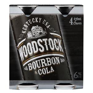 WOODSTOCK 6% 4PK CANS 420ML
