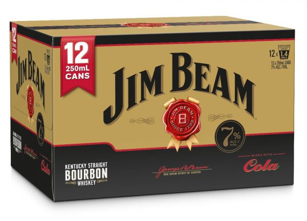 JIM BEAM GOLD COLA 7% 12PK CANS 250ML