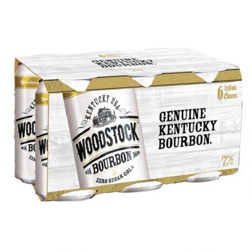 WOODSTOCK ZERO 7% BOURBON N COLA 6PK 330ML